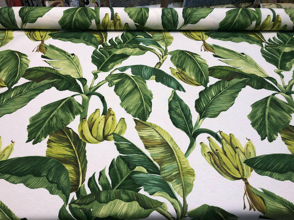 Jamaica Green White Banana Leaves Cotton Drapery Upholstery Fabric by the yard