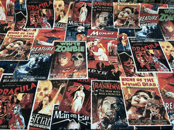Zombie Night of the Living Dead in Color Drapery Upholstery Fabric by the yard