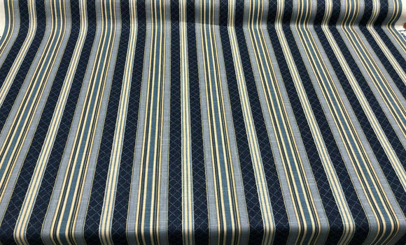 Waverly Multi-Purpose Decor Etienne Indigo Blue Stripe Fabric By The Yard