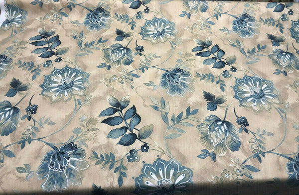 Kelly Ripa Home Light-Hearted Indigo Floral Cotton Fabric by The Yard
