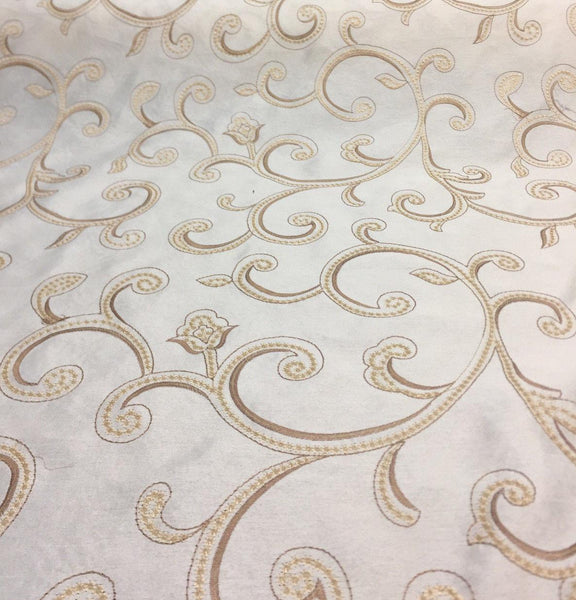 Cream Stiletto Scroll Modern embroidered scroll slub taffeta by the yard