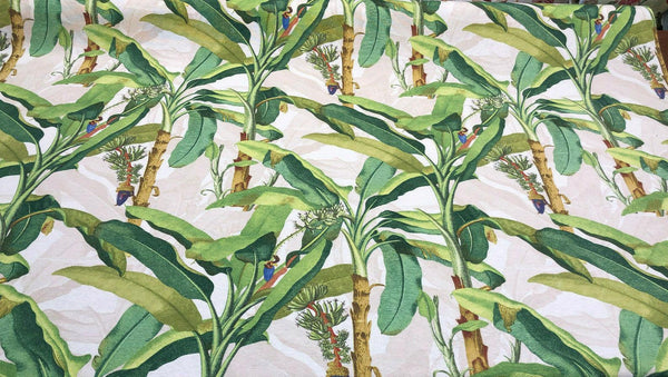 Beverly Hills Malaga Green Tree leafs Cotton Canvas Fabric by the yard