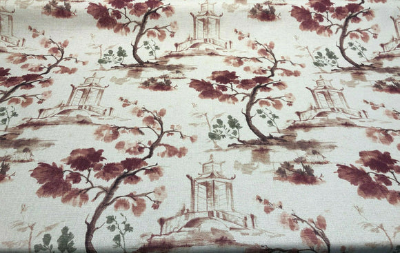 Asian Toile Salmon Rose Caino Cotton Drapery Upholstery Fabric by the yard