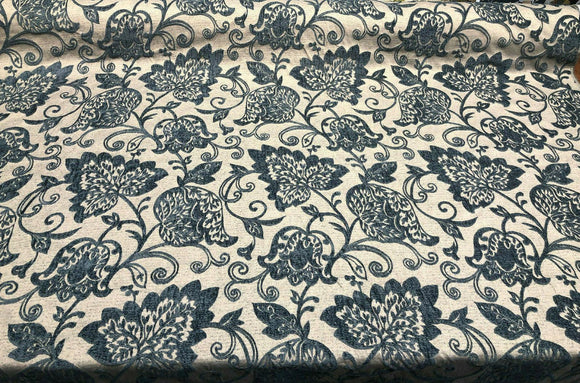 Renaissance Chenille Deep Teal Blue Upholstery Fabric by the yard sofa couch