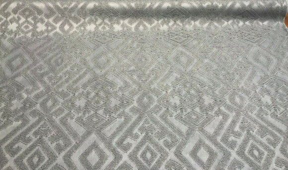 Fabricut East Gate Moondust Gray Brocade Fabric by the yard