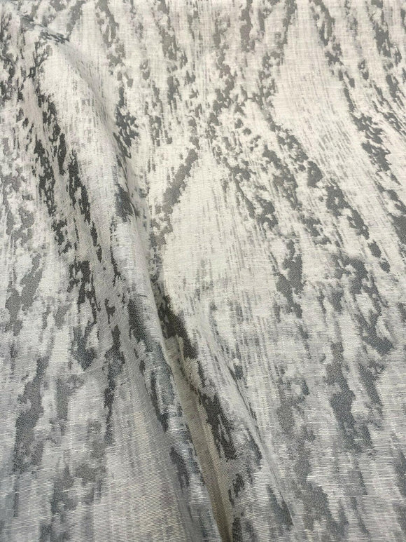 Baylis Rain Silver Jacquard Designer Fabric By The Yard