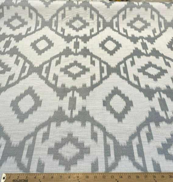 Baylis Aztec Silver Jacquard Designer Fabric By The Yard