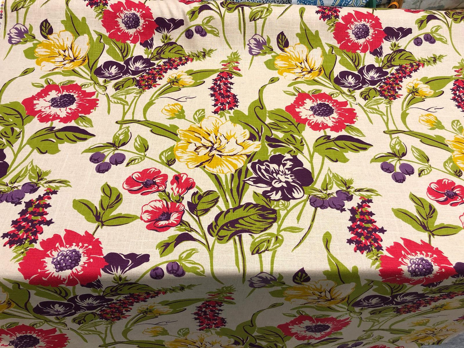 Becca Fiesta Floral Linen Drapery Fabric Upholstery Fabric By The