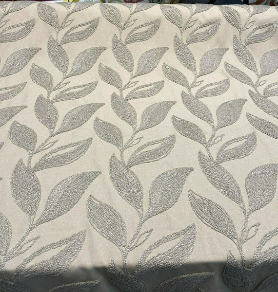 Valiant Dillon Natural Taupe Embroidered Crewel Fabric By The Yard