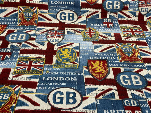 London Kingdom GB Flag Cotton Drapery Upholstery Fabric by the yard