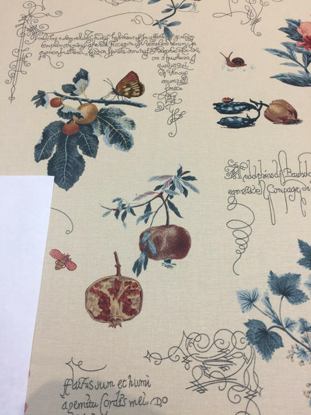 P kaufmann Beige Lydia Irwin Botanical Fruits Fabric by the yard