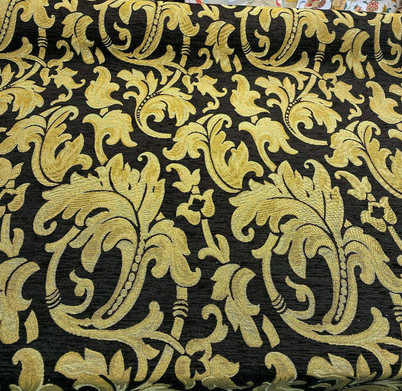 Richloom Pololo Black Floral Chenille Upholstery Fabric by the yard