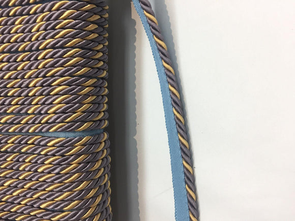 Lavendery Blue Yellow Trim Rope with Gimp Upholstery 10 yard 25 yard 50 yard