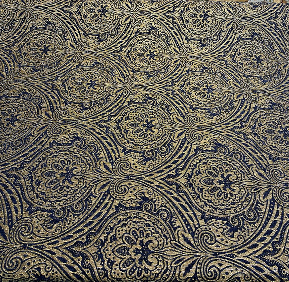 Medellin Damask Navy Blue Gold Upholstery Fabric By The Yard