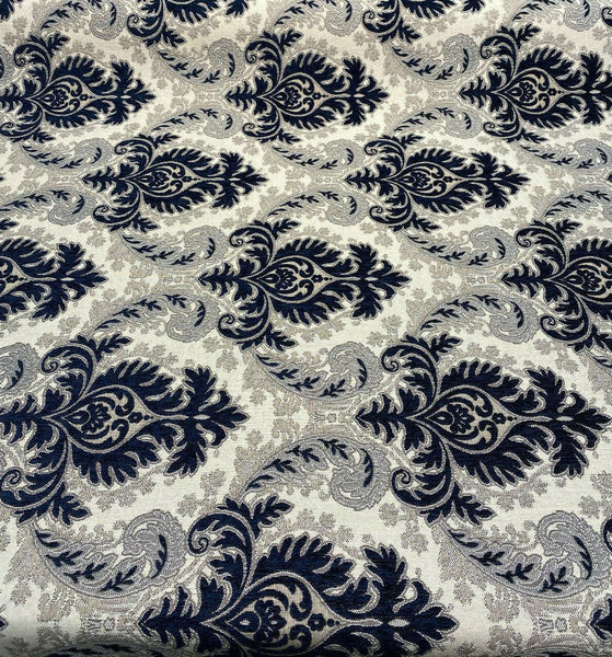 Grenada Damask Navy Blue Silver Upholstery Fabric By The Yard