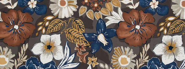 Bahenga  Fabric Floral Future Blues and Browns  Robert Allen Fabric
