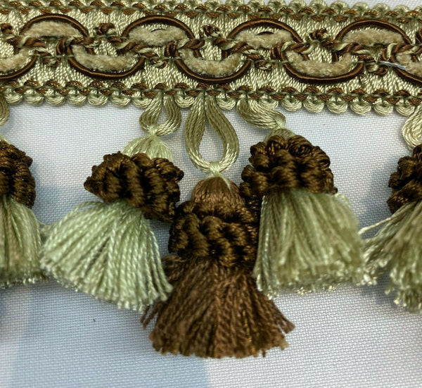 Adore Tassel Fringe Antique Green Brown By The Yard for Draperies