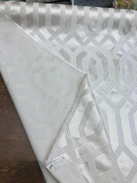 P/Kaufmann Theorem Pearl Gray latticework Fabric by the yard 57''