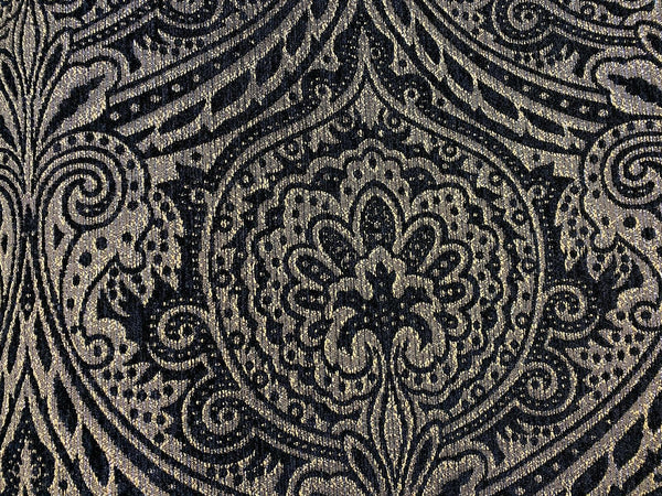 Medellin Damask Black Gold Upholstery Fabric By The Yard