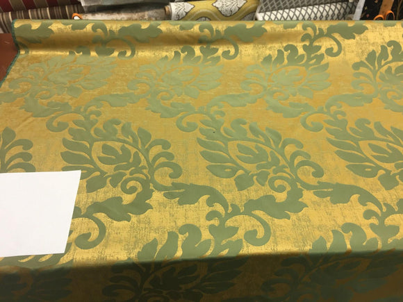 Fabricut Green Gold Jacobean Reversible Drapery Fabric By the yard 56''
