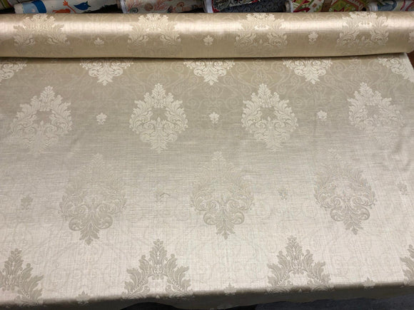 Champagne Damask Excellent for Drapery Fabric 56 inches wide By the yard