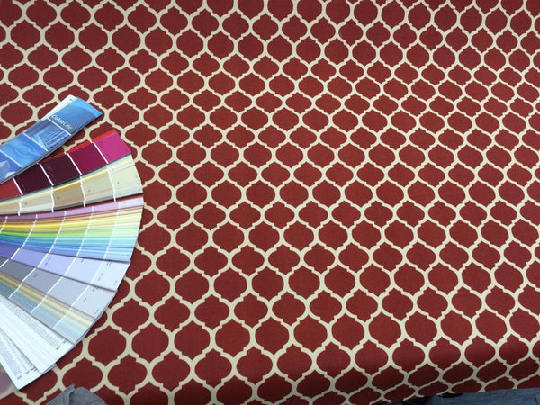 Indoor Outdoor Fabric Trellis Spice red off white by the yard stain repellent