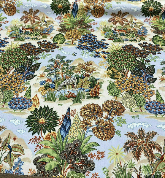 Tropical Jungle Zebras Floral Bloomcraft Fabric By the Yard
