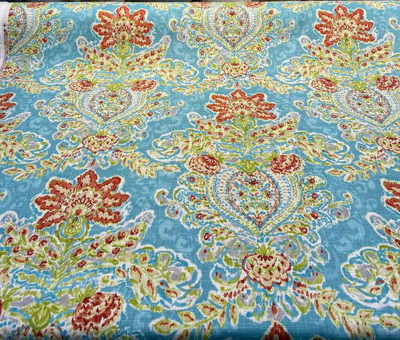 Wavely Crystal Vision Capri Damask Floral Fabric By the Yard
