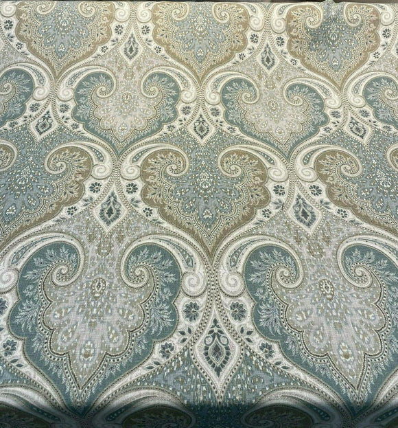 Kravet Latika 135 Seafoam Blue Beige Damask Fabric By the Yard