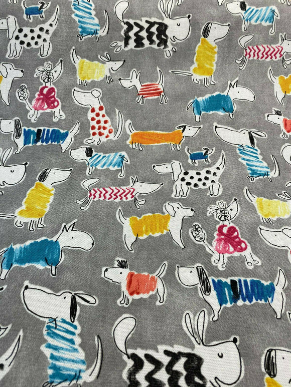 Waverly Dogs Adogable Opal Gray Multi Purpose Fabric By the Yard