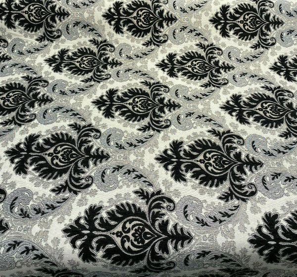 Grenada Damask Black Silver Upholstery Fabric By The Yard