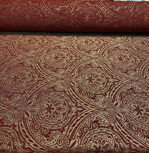 Medellin Damask Ruby Red Gold Upholstery Fabric By The Yard