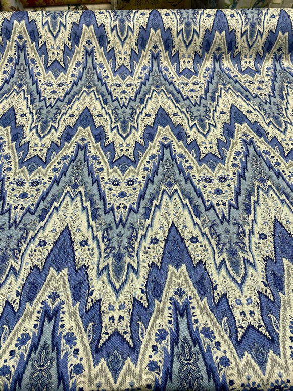 Waverly Williamsburg Bray Flamestitch Porcelain Blue 54'' Fabric By the Yard