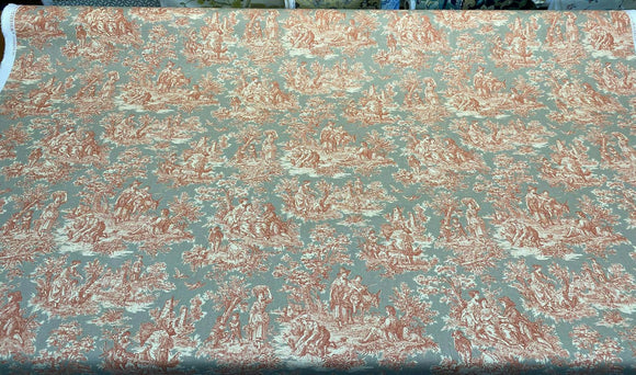Waverly Charmed Life Coral Gray Toile Fabric by the yard