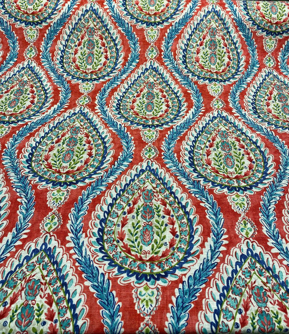 Waverly Dena Home Coconut Row Fiesta Red Blue Fabric By the Yard