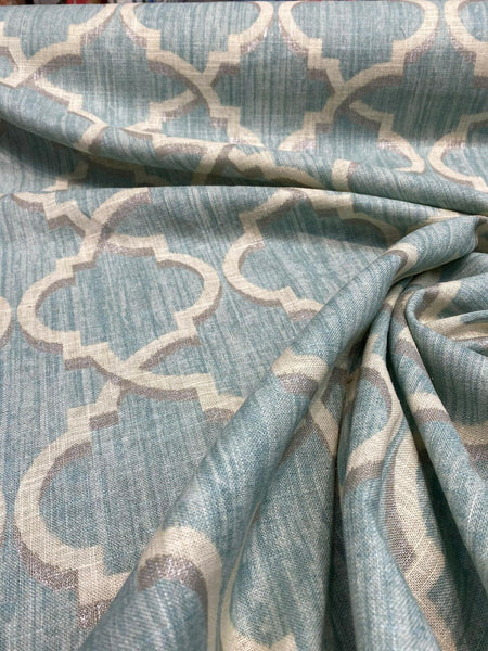 Waverly Lustrous Lattice Mineral Blue Fabric By The Yard