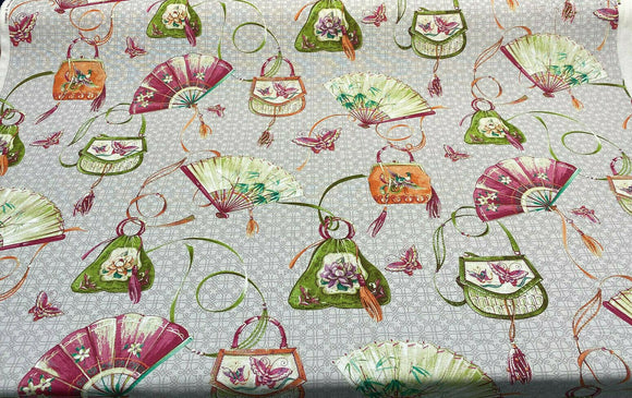 P Kaufmann Layla Slub Duck Platinum Butterfly Fabric By the Yard