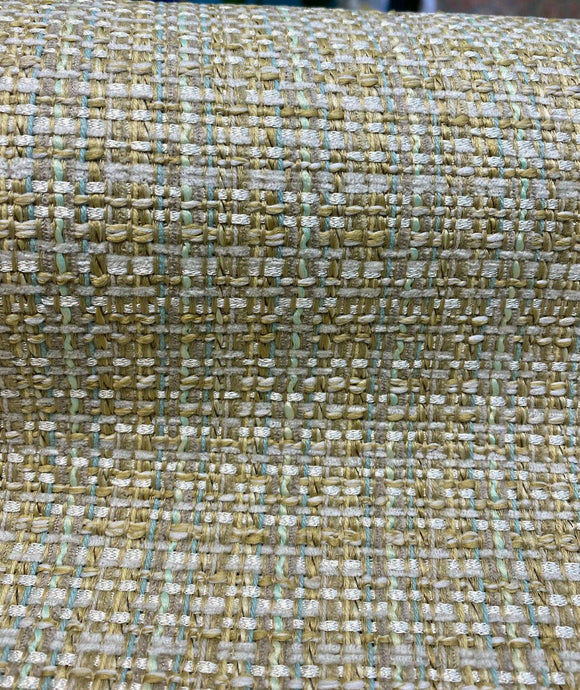 Waverly Mix & Mingle Mineral Gold Teal Tweed Upholstery 56'' Fabric By The Yard
