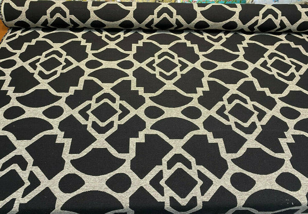 Chenille Upholstery Black Silver Fretwork Geometric Fabric By The Yard