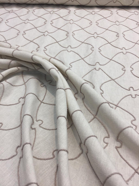 Natural Elementary Embroidered Linen Drapery upholstery Fabric  by the yard