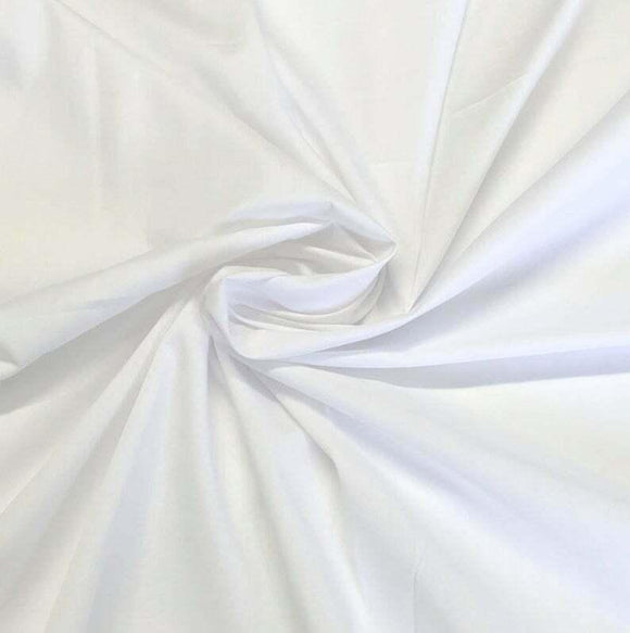 Solid Poly Cotton White Fabric By The Yard 60'' inch Soft Broadcloth