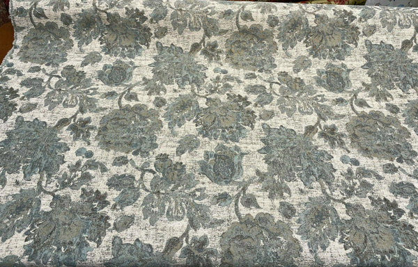 Swavelle Vintage Floral Chenille Goddess Moss Green Fabric By The Yard
