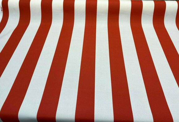 Outdoor Stripe Swavelle Fresco Flame Red Fabric by the yard