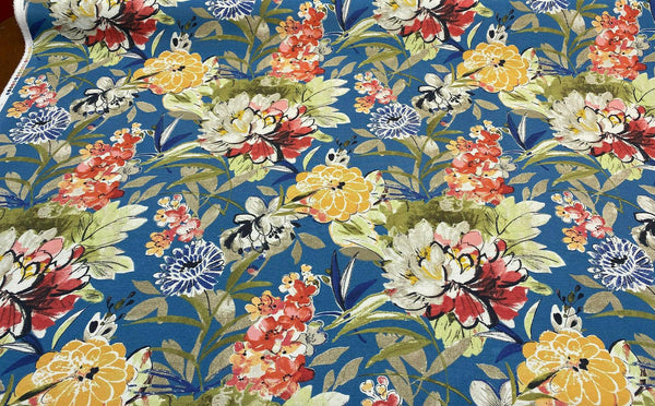 Outdoor Mill Creek Stoneleigh Blue Swavelle Floral Fabric by the yard
