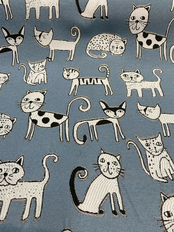 Swavelle Cool Cat Denim Blue Jacquard Fabric By the yard