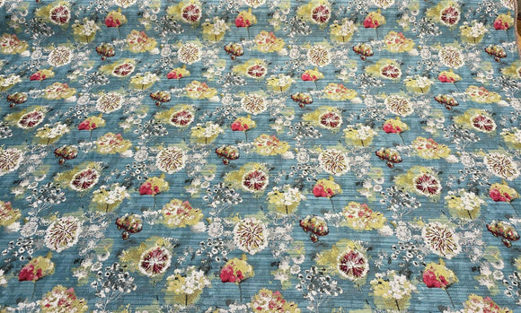 Swavelle Garden Wishes Aqua Blue Jacquard Fabric By the yard