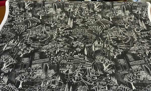 Kelly Ripa Home Daily Sketch Toile Black White Fabric By the Yard