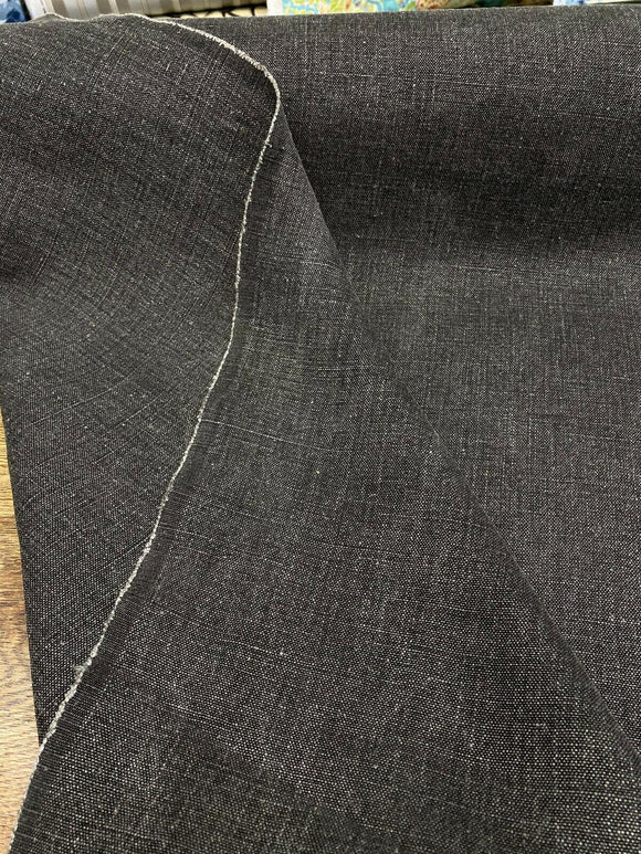 100% Belgian Linen Highland Black Fabric By the Yard