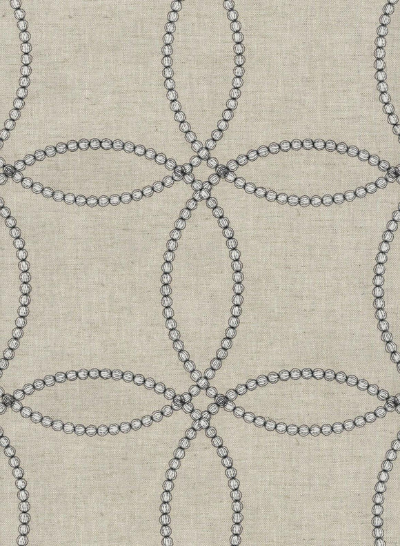 Waverly String Along Emb Woven Embroidered Gunmetal Fabric By the Yard