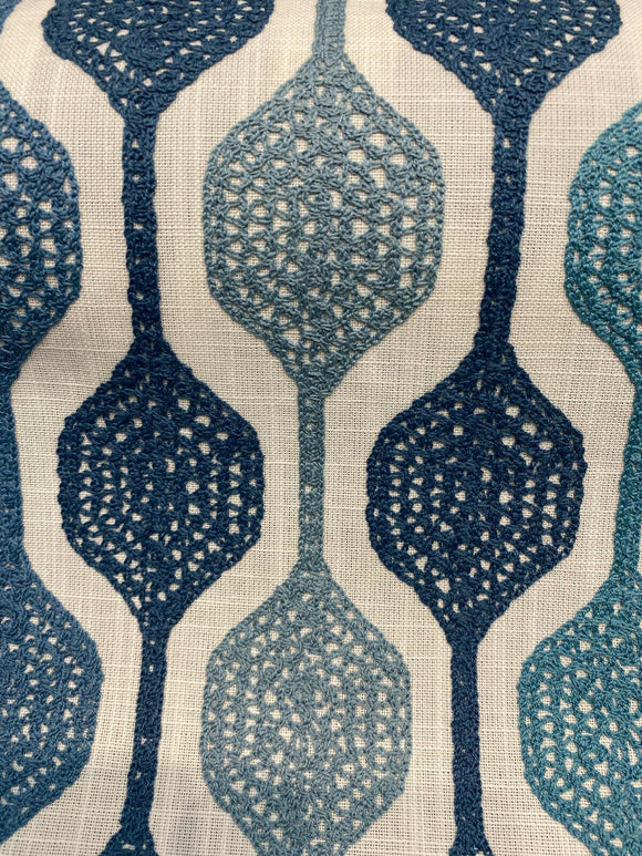 Waverly Handywork Embroidered Baltic Blue Fabric By the Yard